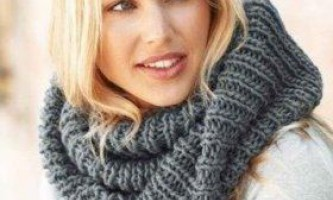 Як зв`язати шарф хомут спицями